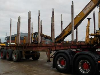 Nooteboom Tri Axle Timber Trailer, Hydraulic Crane, Hydraulic Rotating Grapple (Plating Certificate Available) - rönkszállító